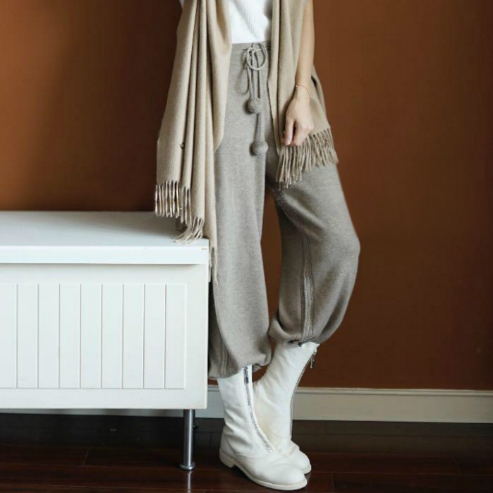 soft waxy comfortable cashmere camel pants female pure knitted wide leg pants Casual Loose Knitted pants