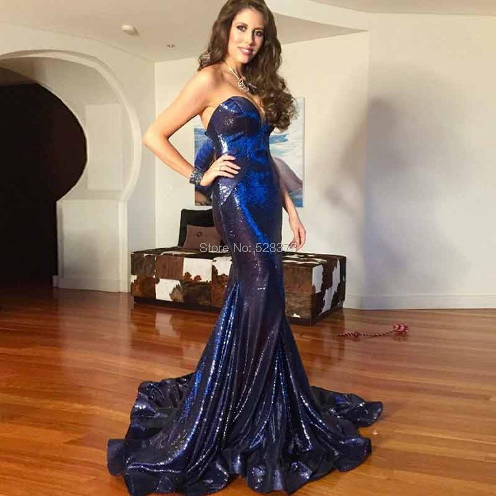YNQNFS PD78 Ruffles Sequins Sweetheart Hot Prom Mermaid Navy Blue Party Gowns Formal   Dress     Bridesmaid     Dresses   2018