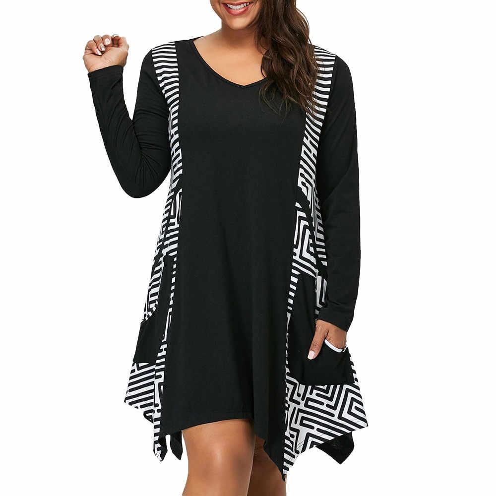 女性の服のドレス 2019 プラスサイズ V ネック長袖不規則な裾非対称ミニドレスポケット roupa feminina