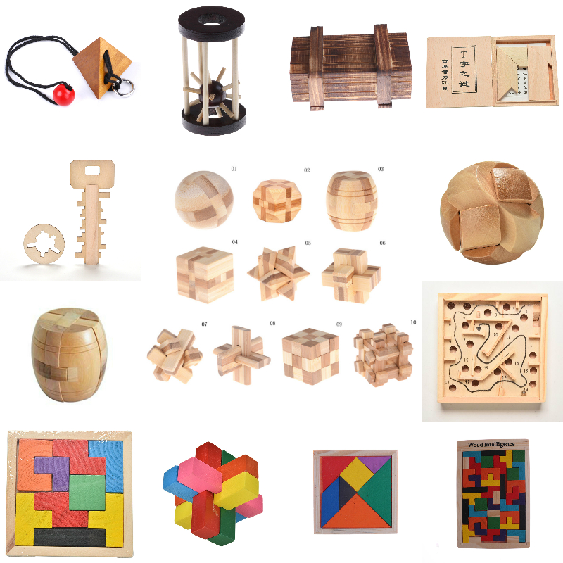 3D Wooden Intelligence Game Brain Teaser IQ Puzzle Luban Lock Russia Ming Lock