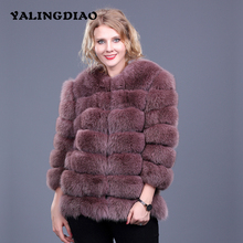 Women Real Fox Fur Coats High Street Winter Warm Thick Solid Fox Fur Coat Jackets Nine Quarter Sleeve Genuine Fox Fur Coat