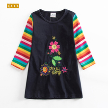 Girl dresses JXS NEAT 2018 children's clothes o-neck cotton Cute colorful striped flower pattern Girl long sleeve dress