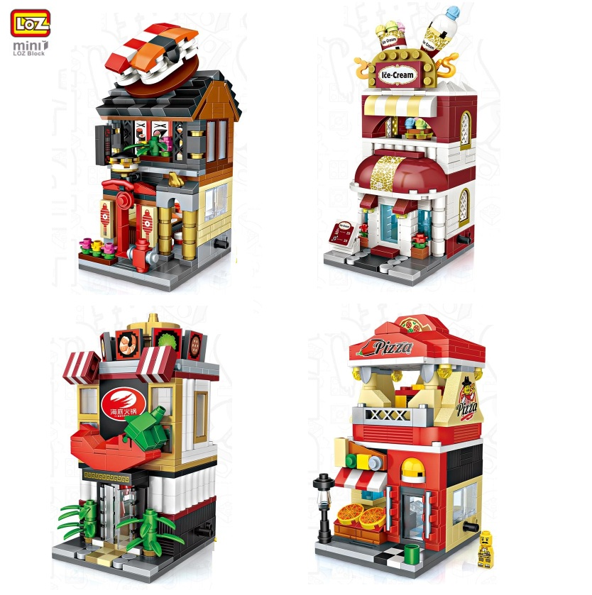 LOZ Mini Blocks Small Street Store Model Plastic Architecture Building Blocks Cute Shop Educational Toy Kids Gifts 1621-1628