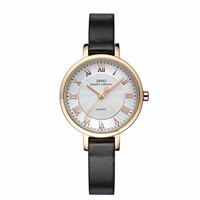 IBSO Luxury Vintage Quartz Watch For Women Big Dial Leahter Strap Rose Gold Tone Wrist Watch