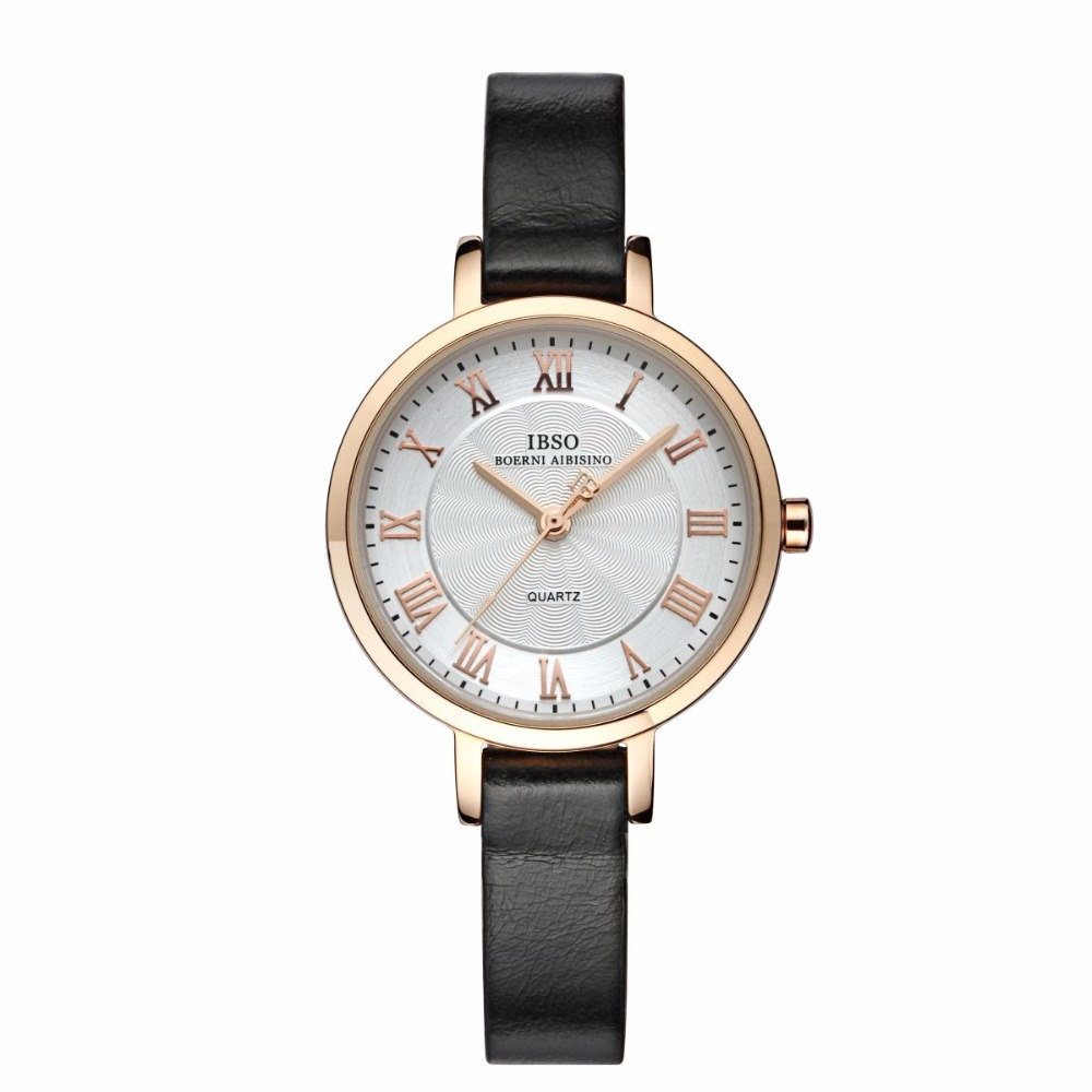 IBSO Luxury Vintage Quartz Watch For Women Big Dial Leahter Strap Rose Gold Tone Wrist Watch S3919L