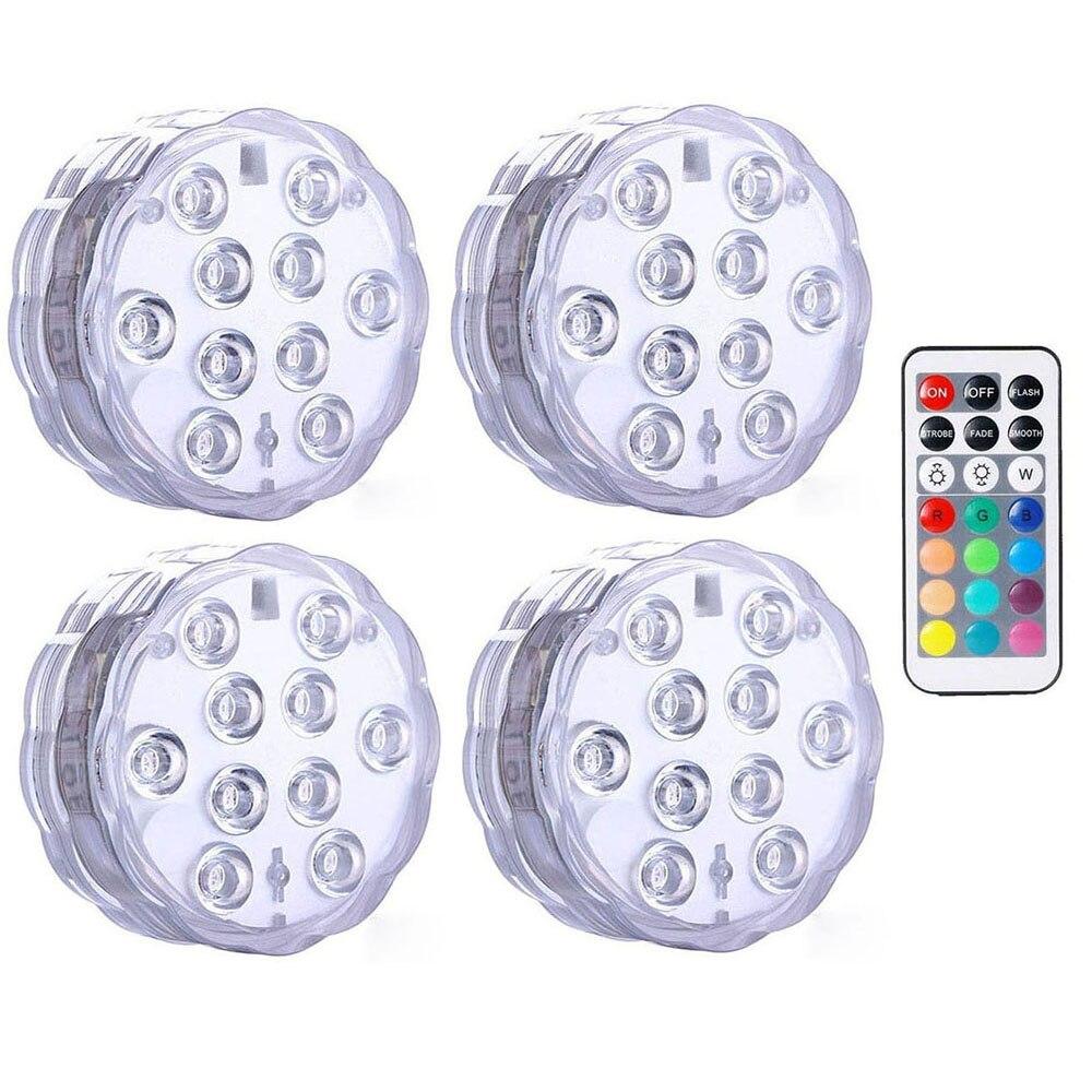 IP68 עמיד למים רב צבע טבולה LED אורות מתחת למים לילה מנורת תה אור אגרטל קערת מסיבת חתונת חג המולד קישוט
