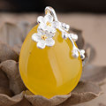 GZ 925 Silver Flower Pendant 100% Pure S925 Solid Thai Silver Round Yellow Chalcedony Pendants for Men Jewelry Making
