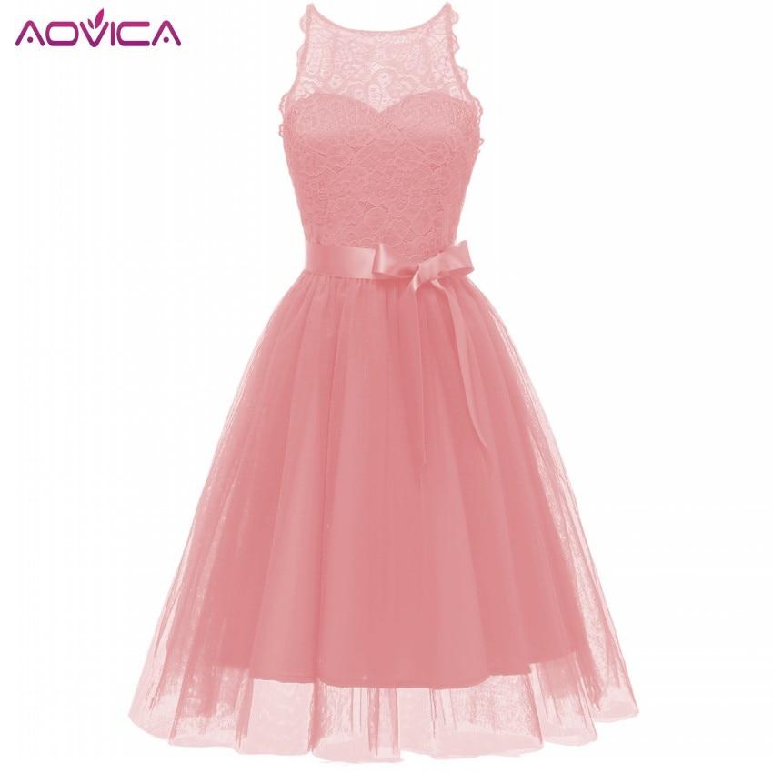US $12 47 42% OFF 2018 Lace Summer Dress Women Sleeveless Lovely Pink  Bowknot Midi Dress Slim Christmas Party Dresses festa de Vestidos-in  Dresses