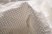 Fildişi pamuk kumaş işlemeli çekler ile, beyaz dantel kumaş, pamuk dantel kumaş ile 3D çekler