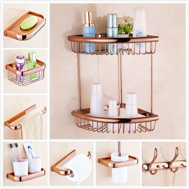 rose gold bathroom accessories. Rose Gold Decoration Bathroom Set Robe Hook Cup Brush Holder Corner Basket  Shelf Soap Dish Paper
