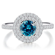 HUITAN Retro Engagement Ring Sky Blue CZ Prong Setting Old Style Wedding Wholesale Lots&Bulk Anniversary GIft For Women