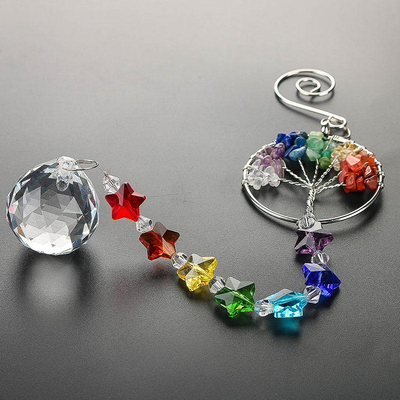 H&D Lucky Chakra Gift Handmade Rainbow Suncatcher Crystal Life Tree Prisms Hanging Pendant Home Wedding Decor Car Charm Pendant