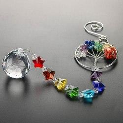 H & d a árvore da vida bola de cristal prisma suncatcher rainbow maker lustre decoração chakra janela jardim pendurado pingente ornamento