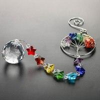 H & d a árvore da vida bola de cristal prisma suncatcher rainbow maker lustre decoração chakra janela jardim pendurado pingente ornamento Coletor de sol p/ jardim    -