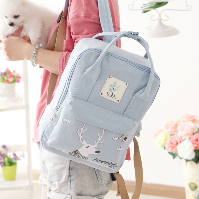 Korean Style Canvas Printing Backpack Women Shoulder School Bag for Teenagers Girls Travel Bags Bolsas Mochilas