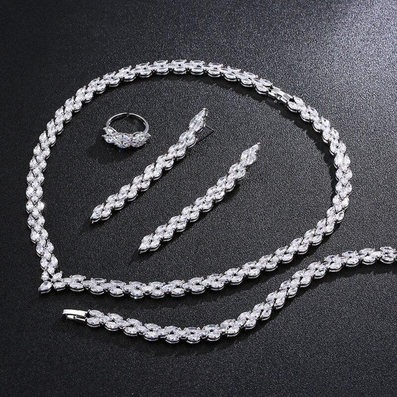 Ensemble de bijoux en argent sterling 925 pour boucles d'oreilles de mariage collier pendentif bracelet anneau femmes bijoux cadeaux de noël J4787