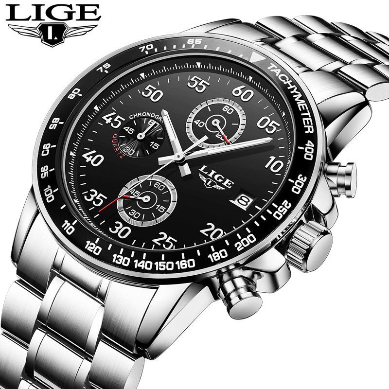 New LIGE Watches Men Luxury Brand Sport Waterproof Quartz Watch Men Full Stainless Steel Wristwatch Man Clock relogio masculino new listing men watch luxury brand watches quartz clock fashion leather belts watch cheap sports wristwatch relogio male gift
