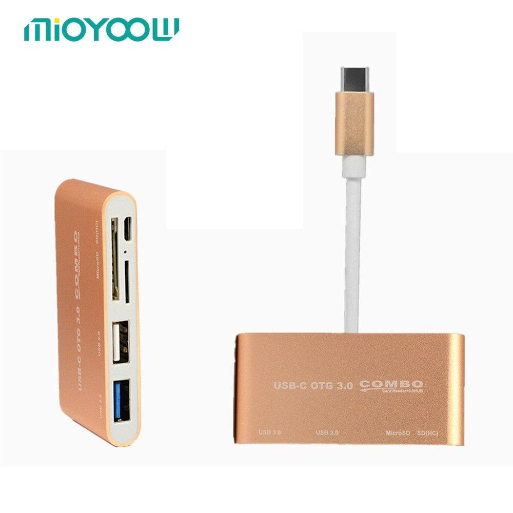 5 dans 1 USB-C Hub USB 3.1 Type C HUB avec Carte lecteur USB3.0 Multi Spliter USB-Type c-c OTG Hub Combo pour Macbook Air Pro