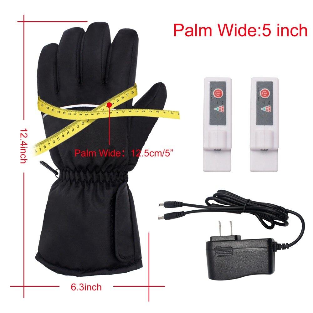 GlobalV batterie électrique gants chauffants pour hommes femmes, activités de plein air moto Ski randonnée chaleur chaude gants Rechargeable - 5
