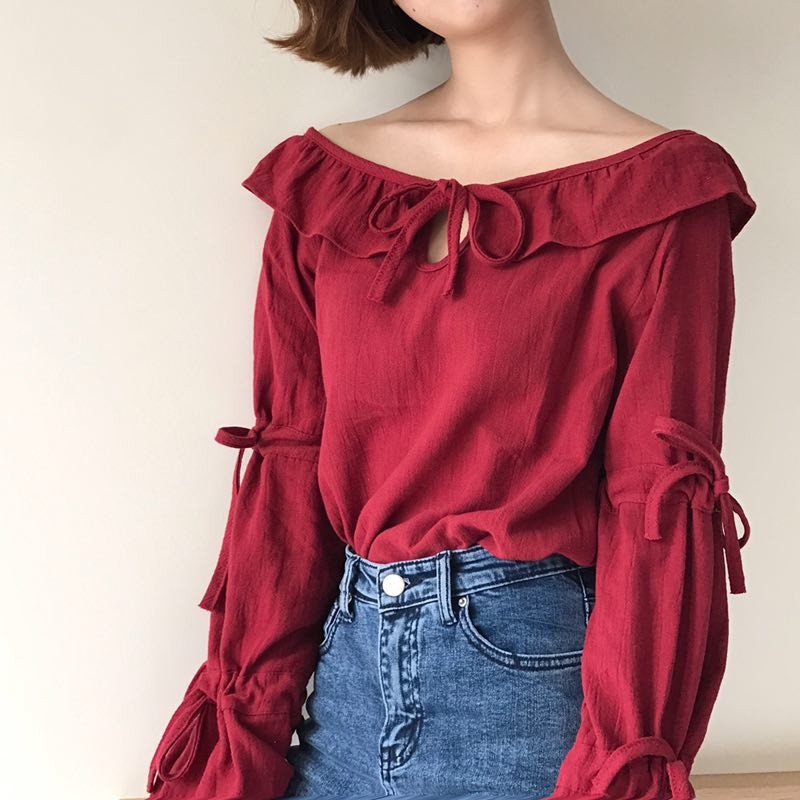 Summer Style Ruffles Sweet Casual Solid Color Lace Up Women Tops Wild Long Sleeve Tumblr Korean Tee Shirt Femme Spring TT2563 In T Shirts From Womens