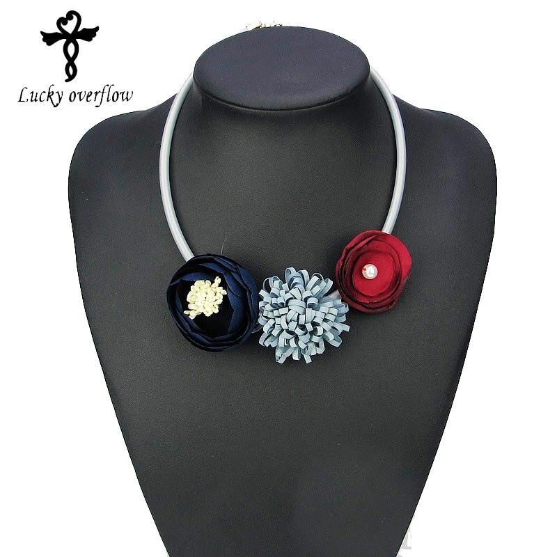 2018 India Jewelry Dubai Gold Jewelry Women Fashion: Handmade Red Grey Blue Fabric Flower Choker Necklace