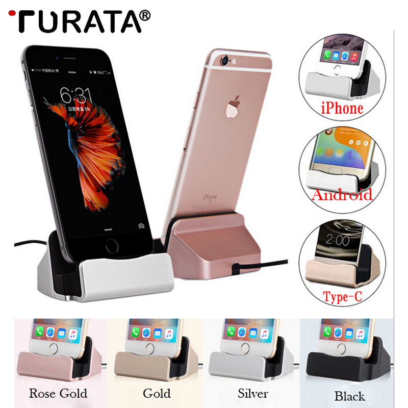 Turata טעינת בסיס Dock תחנת עבור iPhone X 8 7 6 USB כבל סנכרון מטען ערש בסיס עבור אנדרואיד סוג C Samsung מחזיק מעמד
