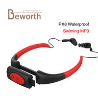 8GB Waterproof MP3 Music Player Underwater Swim Surfing Diving Neckband Sports Stereo Earphone Spa Surf Scuba