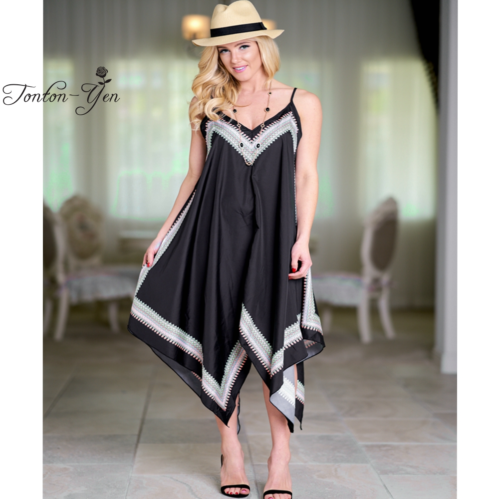 Plus Size Sexy Beach Desses Asymmetrical Print Dress Spaghetti Strap Long Dress Women Black Loose Robe femme 2018 Summer New