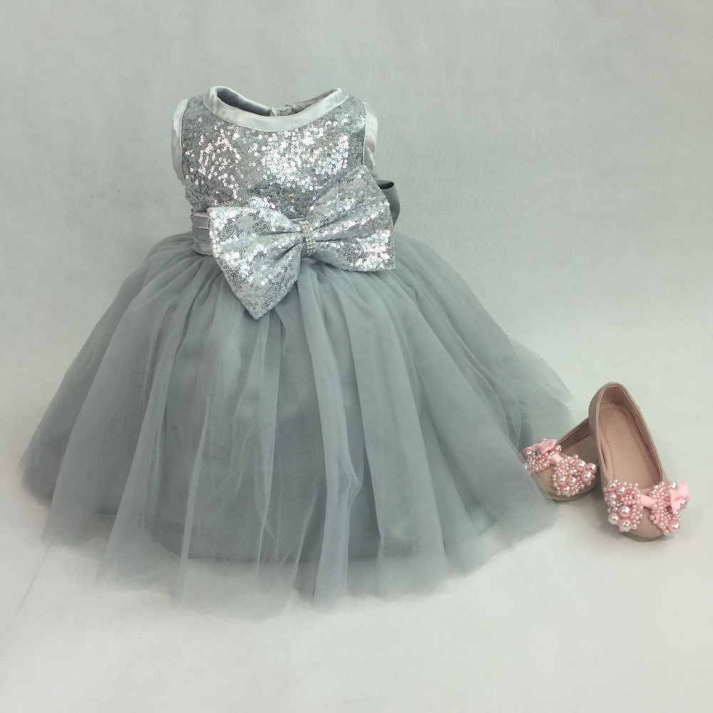 Baby girl pink sequin dress - 2017 Silver Sequins Sleeveless Princess Baby Girls Dresses Kids Wedding Dress Bow Tutu Baptism Party Gown