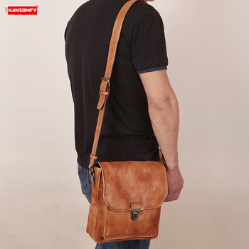 Hand-brushed first layer leather retro men's shoulder Messenger bag fashion male crossbody bag  small brown genuine leather bag