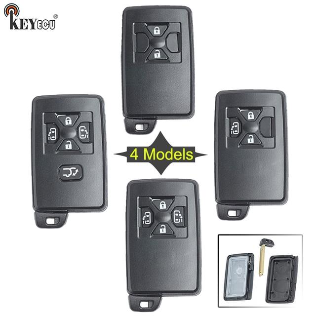 KEYECU עבור טויוטה החלפת חכם כרטיס מרחוק רכב מפתח Shell Case Fob 2/3/4/5 כפתור עם נימול להב שחור צבע (רק מעטפת)