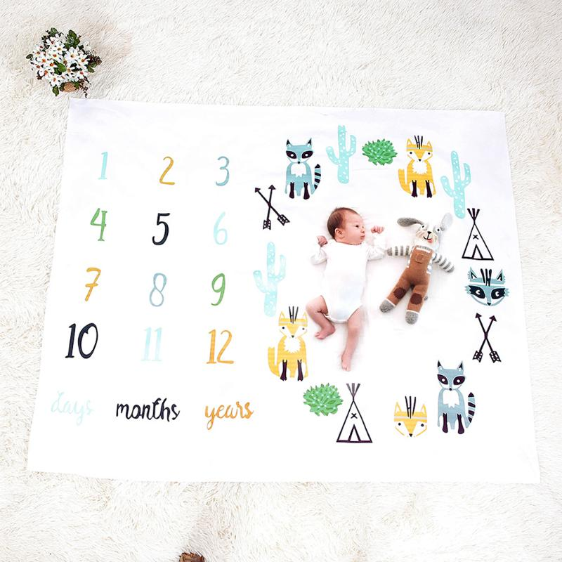 Baby Milestone Blankets Newborn Soft Warm Fox Print Toddlers Bed Swaddle Wrap Monthly Growth Number Photo Background Bath Towel
