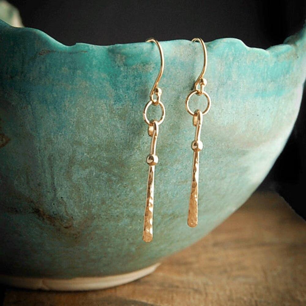 Long Bar Earrings Handmade Jewelry Gold Filled 925 Silver Hammered Vintage Jewelry Oorbellen Earrings for Women Brincos