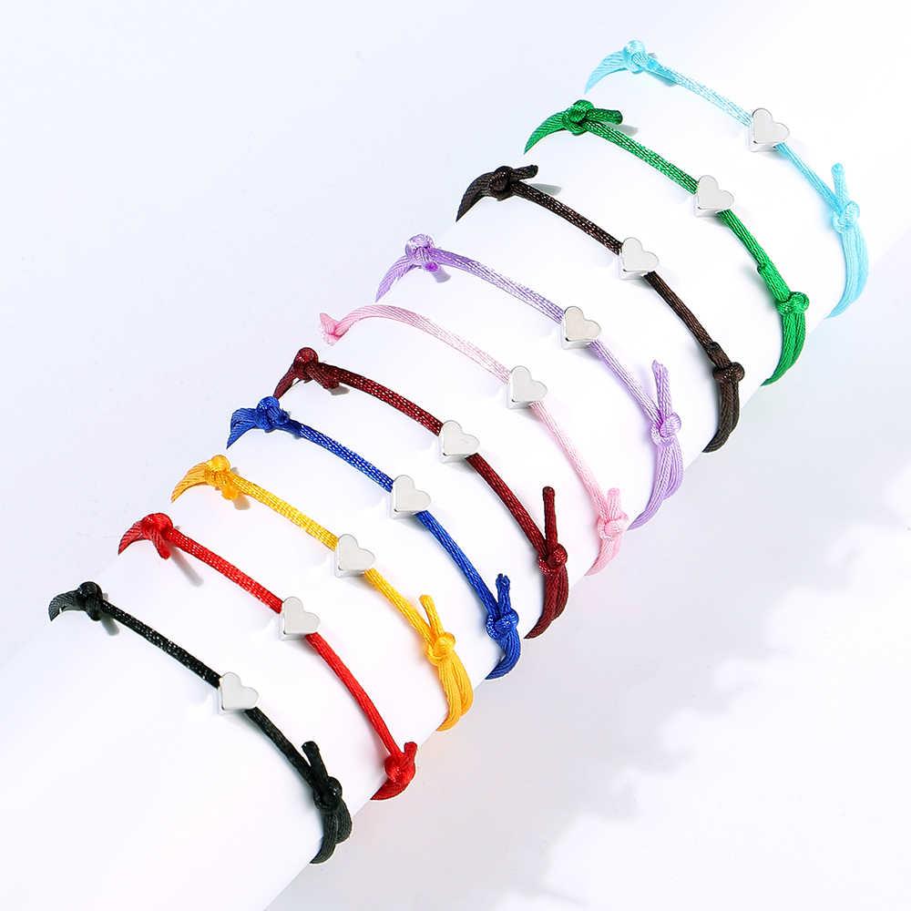 Nowe mody kolorowe liny łańcuszek z sercem bransoletka na kostkę dla kobiet mężczyzn dziewczyny boso sandały prosta bransoletka damska biżuteria prezent