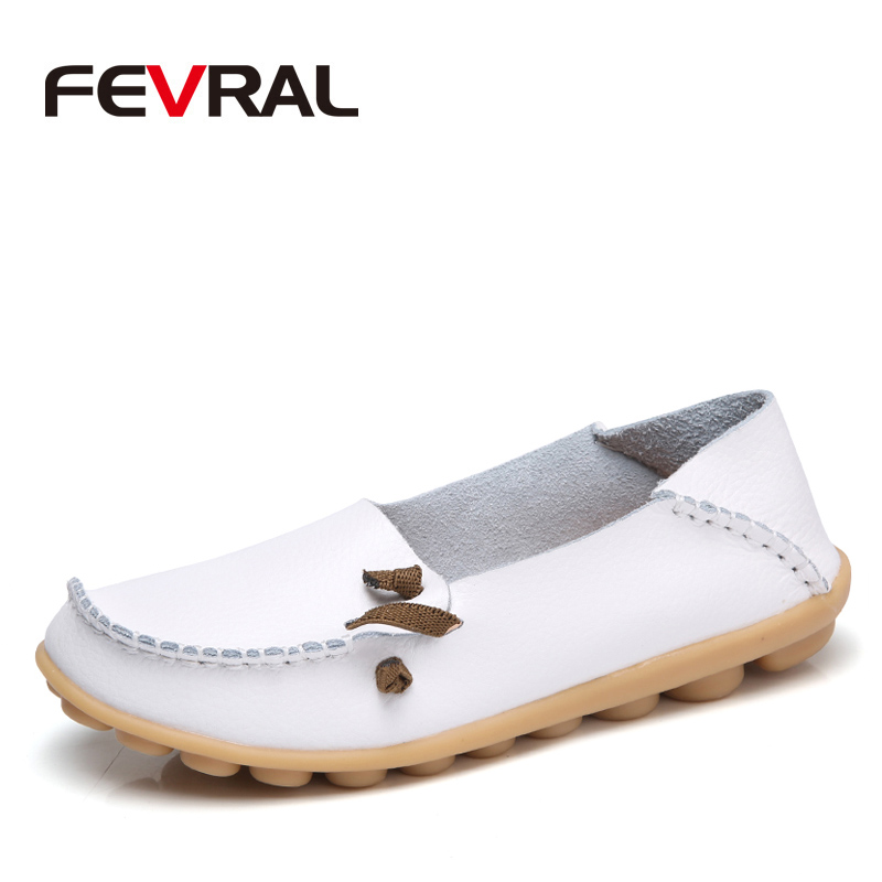 FEVRAL New Women Spring And Autumn Real Leather Flats Mother Soft Loafers Shoes Female Casual Moccasins Footwear Size 34-44 vintage embroidery women flats chinese floral canvas embroidered shoes national old beijing cloth single dance soft flats
