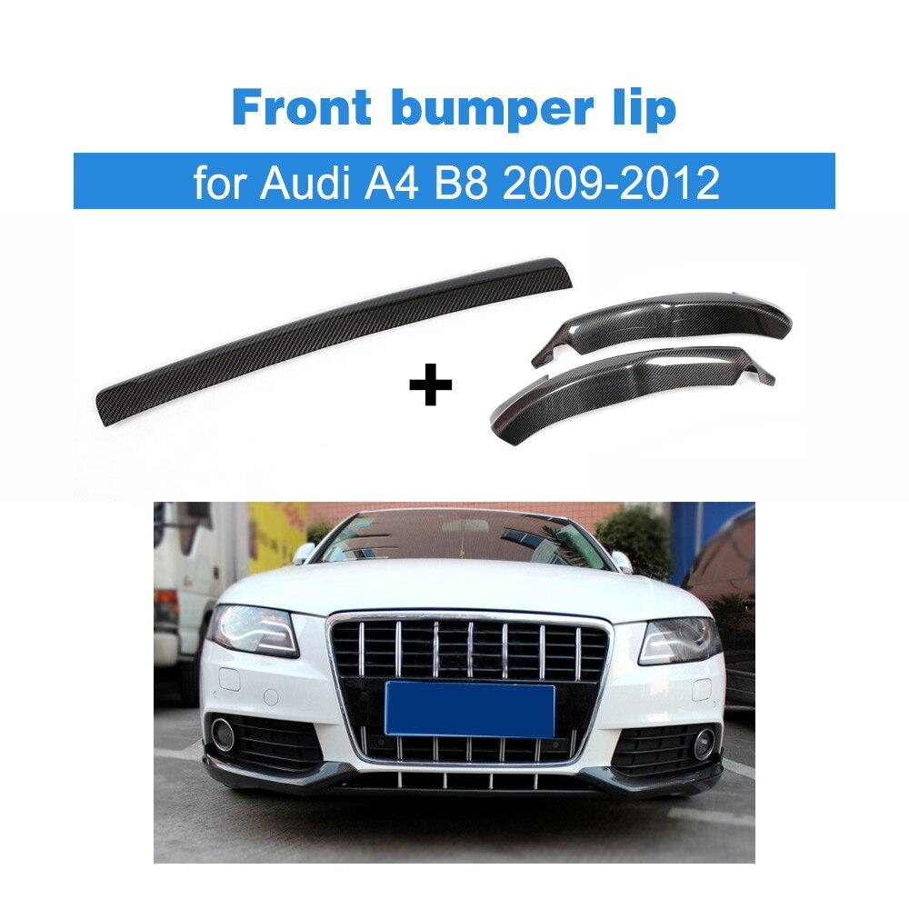Pare-chocs avant en Fiber de carbone pour Audi A4 B8 2009 - 2012 | Pare-choc en Fiber de carbone, séparations centrales et de tablier pour 3 pièces