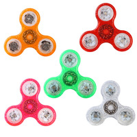 2017 New LED Light Hand Fidget EDC Finger Crystal Tri Spinner For Autism ADHD Relief Focus Anxiety Stress Relax Gift Toys