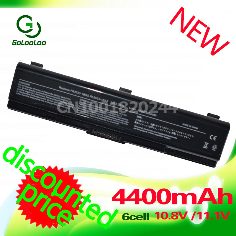 Golooloo 4400mAh PA3534U 1BRS PA3533U 1BRS Battery For Toshiba Satellite A200 A205 A210 L300 A215 M200