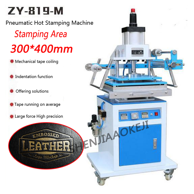 1pc 220V ZY-819M Pneumatic gold Hot Stamping Machine Large area 300*400MM Leather Embossing Machine Die indentation