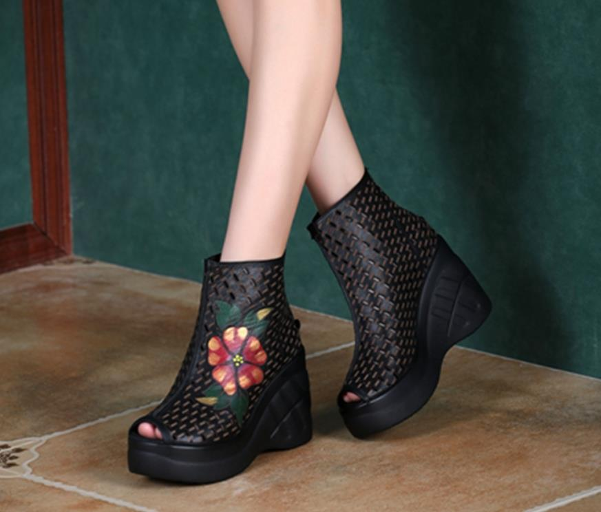 Spring and summer leather national style hollow fish mouth shoesSpring and summer leather national style hollow fish mouth shoes