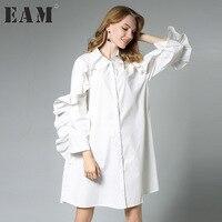 [EAM] 2018 new spring lapel long sleeve solid color black white loose lotus leaf edge big size dress women fashion tide JA74701