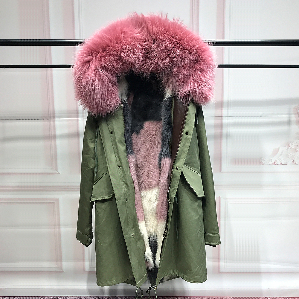 85CM Fashion Real Fox Fur Liner winter jacket women army green parka coat big raccoon fur collar hooded parkas thick outerwear real fox fur liner winter jacket women new long parka real fur coat big raccoon fur collar hooded parkas thick outerwear