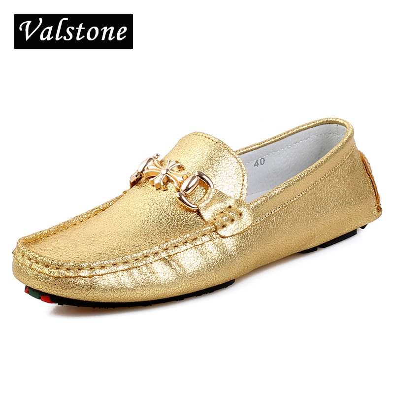 Valstone Quality Shining Gold Leather Casual Shoes men slip-on loafers Luxury Flats silver handtailor moccasins metal buckle
