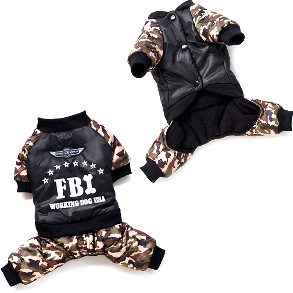 Pet Dog Cat Winter Cappotti FBI Print Addensare Tuta Camo Pants Abbigliamento H1