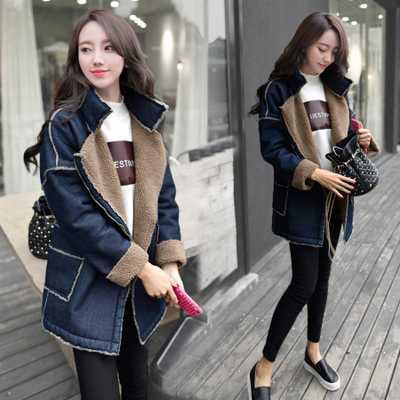 ФОТО Winter Jacket Women 2016 New Fashion Elegant Ladies Lamb Wool Denim Parkas Coats  Women Thicken Wadded Outerwear A3867