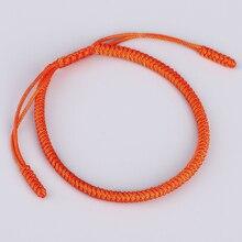 c230f39473 Original Tibetan Buddhism Handmade Knot Lucky Rope Bracelet ORANGE Buddhism  Artisan Handmade Bracelet For Women(
