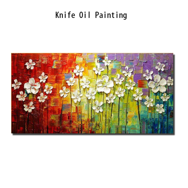 Hand-painted Abstract Oil Painting modern palette multicolor Knife flower Painting on the Canvas Pictures wall Art Home Decor
