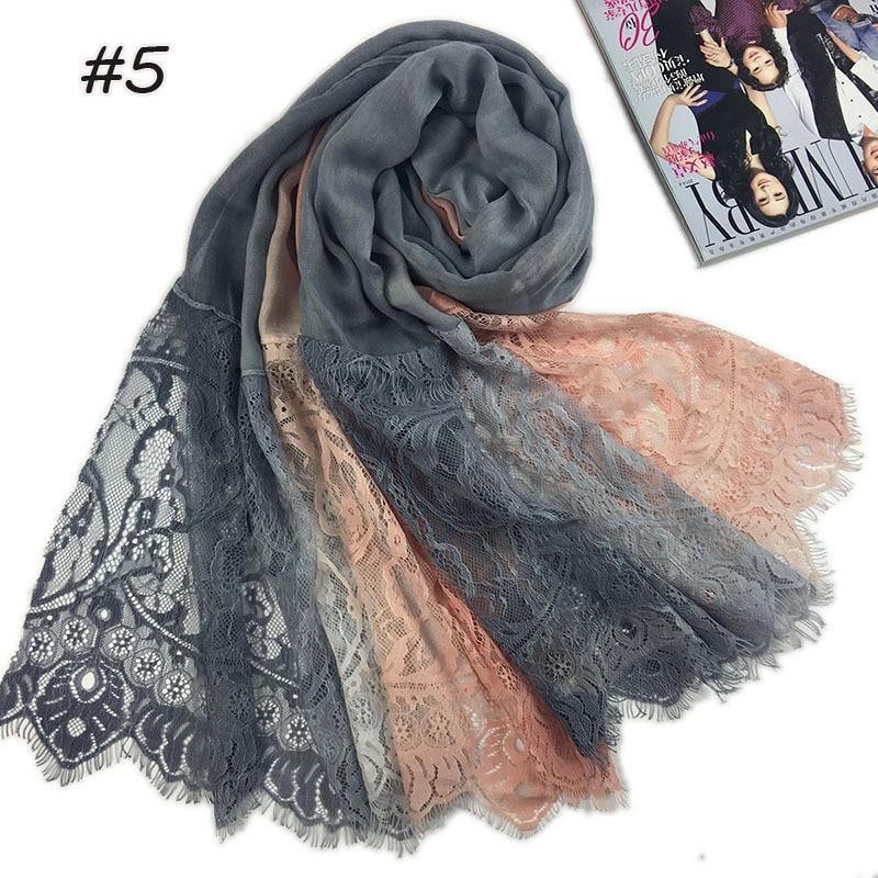 Apparel Accessories Practical 1 Pc Popular Lace Edges Scarf Hijab Woman Plain Maxi Shawl Wrap Flower White Lace Foulard Soft Cotton Muslim Hijabs Scarfs 100% Original