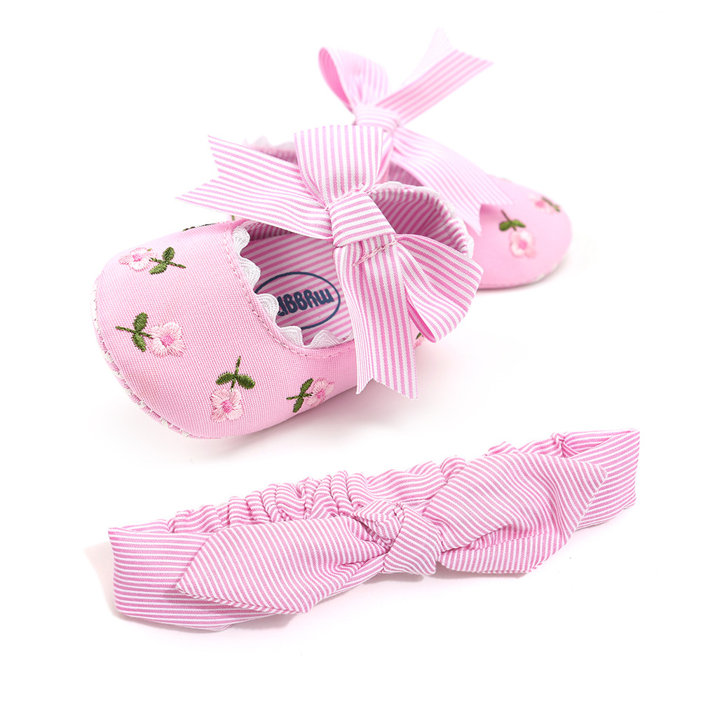 255bd67a39c 2018 New Spring Autumn Baby Casual Shoes For Girl Striped Butterfly-knot  Purfle Shallow Toddlers Prewalkers With Headband