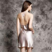 Brand 100% Real Silk Nightdress Women Sexy Lingerie Backless Sleepwear Female Natural Silk Nightwear Ladies Nightgowns